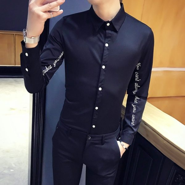 Letter Embroidery Tuxedo Shirts