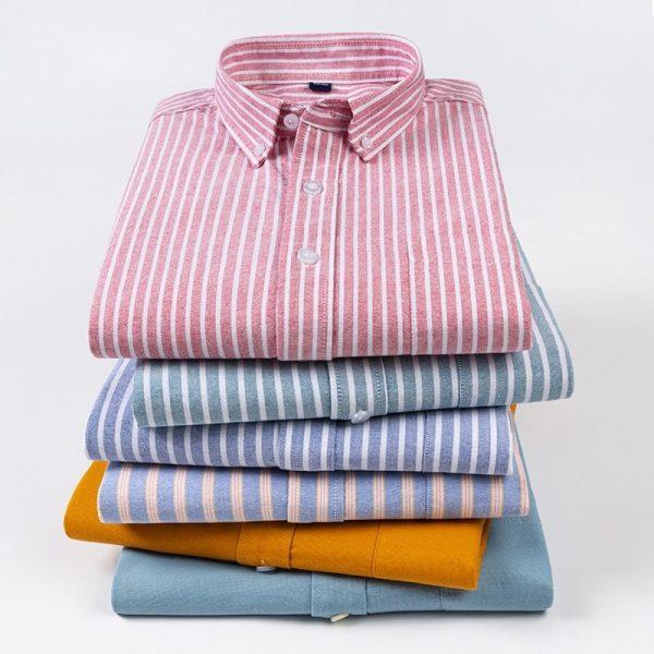 Oxford Shirt Men Striped Dress6