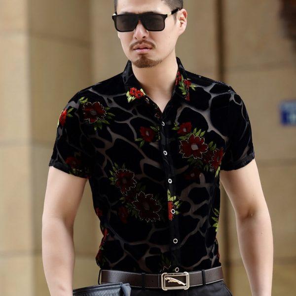 Sexy Transparent Men Dress Shirts