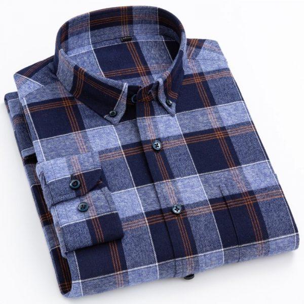 England Style Checkered Cotton Shirts6