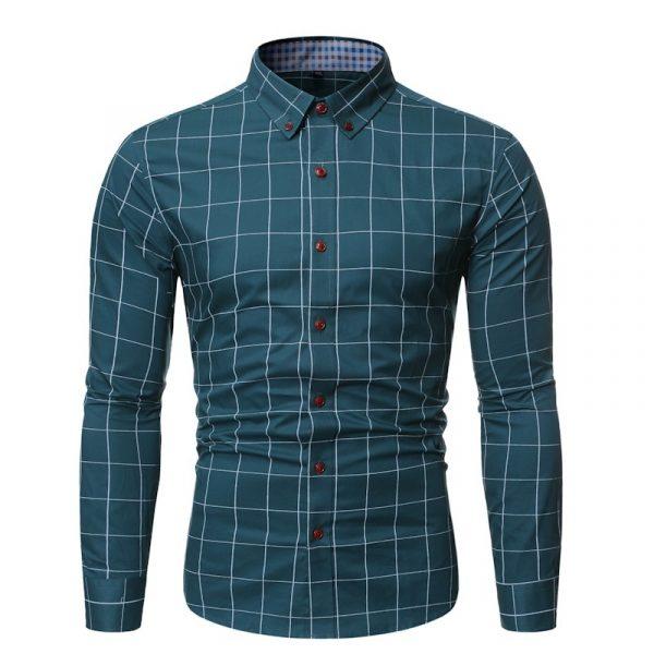 Fashion Plaid Cotton Men Shirt