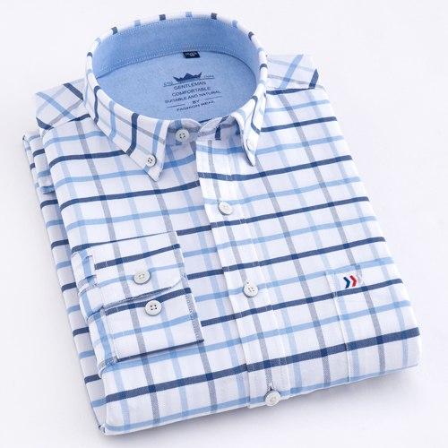 100% Cotton Shirt Oxford Plaid Striped Shirts