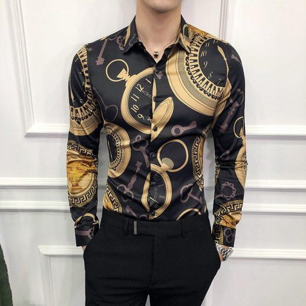 Black Casual Shirt Gold Dress Shirts