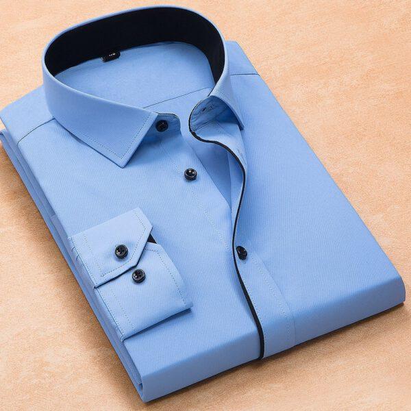 Long Sleeved Twill Solid Shirt Men Dress Shirts