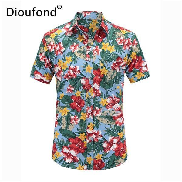 Men Casual Shirts Hawaiian Aloha Shirt Floral Shirts